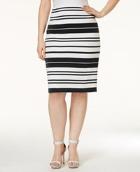 Calvin Klein Plus Size Striped Pencil Skirt White Black