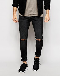 Asos Super Skinny Jeans With Rips Washedblack
