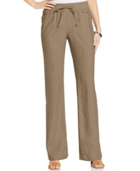 Style And Co. Wide Leg Linen Drawstring Pants Truffle