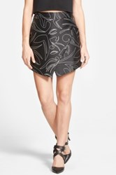 Cameo 'One Life' Faux Wrap Miniskirt Juniors Black