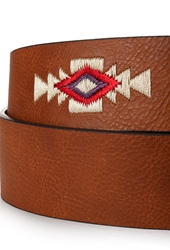Forever 21 Southwestern Embroidered Faux Leather Belt Brown