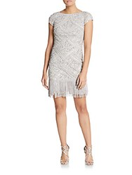 Aidan Mattox Beaded Fringe Dress Silver