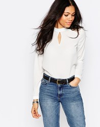 Daisy Street Blouse With Lace Inserts And Keyhole Detail White