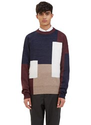 Oamc Mohair Block Panelled Crew Neck Sweater Burgundy