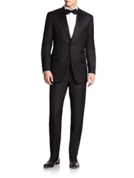 Saks Fifth Avenue Samuelsohn Notched Lapel Wool Tuxedo Black