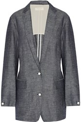 Rag And Bone Battle Cotton Blend Chambray Blazer Blue