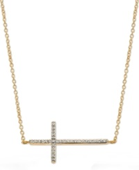 Wrapped Yellora Diamond Sideways Cross Pendant Necklace In Yellora 1 6 Ct. T.W.