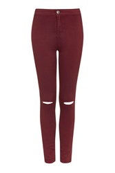 High Waisted Rip Jeans By Glamorous Burgandy