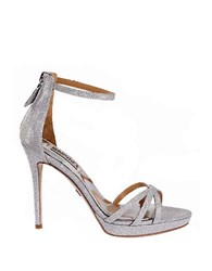 Badgley Mischka Signify Leather High Heel Sandals Silver