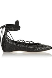 Daniele Michetti Musa Satin Leather And Elaphe Point Toe Flats Black