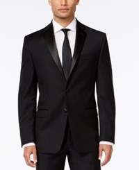 Calvin Klein Black Solid Slim Fit Tuxedo Jacket