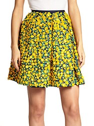 Michael Kors Embellished Floral Wool And Silk Skirt Yellow Multi