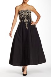 Marchesa Embroidered Full Length Gown Black