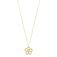 Ewa 9Ct Gold Open Flower Birthstone Pendant Diamond