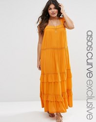 Asos Curve Boho Maxi Dress With Ruffles And Lace Insert Mustard