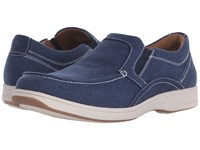Florsheim Lakeside Moc Toe Slip On Navy Canvas Navy Suede Men's Slip On Shoes Blue