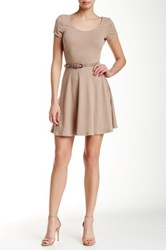 Iris Scoop Neck Fit And Flare Dress Brown