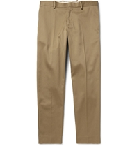 Acne Studios Cone Tapered Cotton Blend Twill Trousers Neutrals