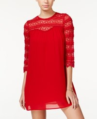 Speechless Juniors' Three Quarter Sleeve Lace Shift Dress Red