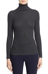 St. John Women's Collection Cable Knit Turtleneck Sweater Hematite Melange