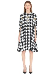Stefano De Lellis Embellished Houndstooth Wool Blend Cape