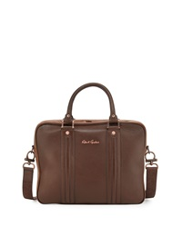 Robert Graham Raleigh Two Tone Leather Briefcase Bag Brown