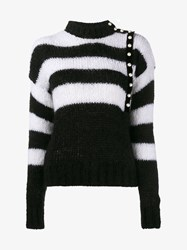 Philosophy Mohair Blend Pearl Button Stripe Jumper Black White Pearl
