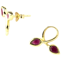 A B Davis 9Ct Gold Ruby Double Leaf Earrings Red