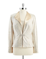 Cachet Two Piece Metallic Blazer And Shell Set Champage Silver