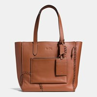 Coach Rip And Repair Manhattan Tote In Leather Saddle