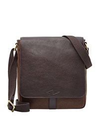 Fossil Leather Trim Satchel Dark Brown