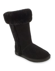 Minnetonka Canyon Suede And Sheepskin Lined Mid Calf Boots Black