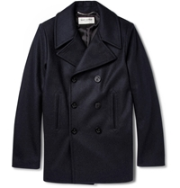 Saint Laurent Slim Fit Wool Peacoat Blue