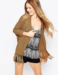 Vero Moda Open Knit Cardigan With Tassel Detail Tobacco Brown