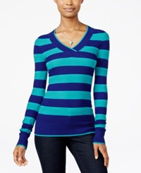 Energie Juniors' Molly Striped V Neck Textured Sweater Inky Blue