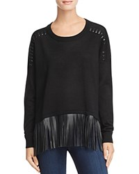 Aqua Faux Leather Fringe Pullover Black