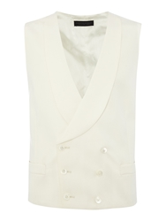 Chester Barrie Plain Tailored Fit Waistcoat Cream