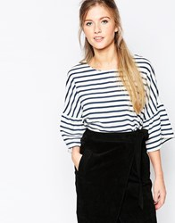 Wal G Stripe Top With Frill Sleeve White