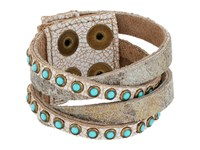 Leather Rock B622 Carson City White Vintage Silver Gold Antique Brass Patina Cabs Bracelet Beige