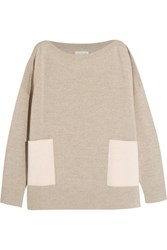 Chinti And Parker Faux Suede Paneled Merino Wool Sweater Beige
