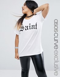 Asos Curve Halloween Saint And Sinner Reversible T Shirt White