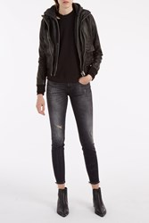 R 13 Hooded Leather Jacket Black