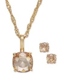 Charter Club Gold Tone Peach Crystal Pendant Necklace And Earrings Set Only At Macy's