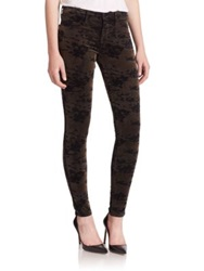 J Brand Mid Rise Super Skinny Luxe Velveteen Camo Print Jeans Olive Camo