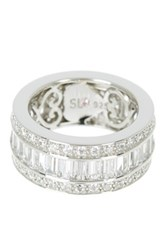 Suzy Levian Jewelry Sterling Silver Baguette And Round Cz Eternity Band White