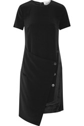 Dkny Wrap Effect Faille Dress Black