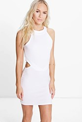 Boohoo Orla Cut Out High Neck Bodycon Dress White