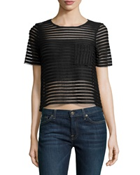 Romeo And Juliet Couture Mesh Striped Short Sleeve Top Black