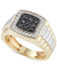 Macy's Men's Diamond And Black Diamond Ring 3 4 Ct. T.W. In 10K Gold And White Gold