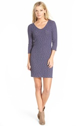 Painted Threads Ribbed Body Con Dress Heathered Blue
